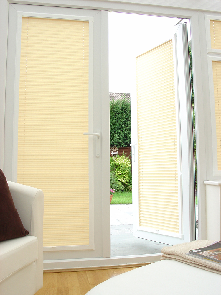 Blinds for french doors simple and effective for Door window shades blinds