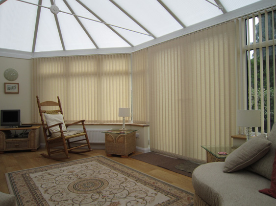 Veritcal blinds in a conservatory